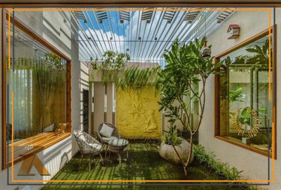 طراحی حیاط باغ ویلا